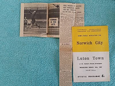 1959 - FA CUP SEMI FINAL REPLAY PROGRAMME - NORWICH CITY v LUTON TOWN
