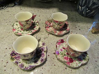 -  Vintage Floral Porcelain Teacup with Butterfly Handle and plates