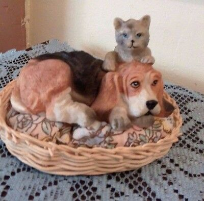 Basset Hound & Cat Figurine In A Wicker Basket Resin Nice For The Animal Lover