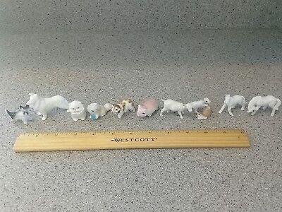 ceramic animals horses goats pigs cats dogs lot of 10
