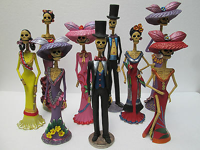 """SET OF 9 CATRINAS mexican day of the dead handmade wholesale lot clay 16"""""""