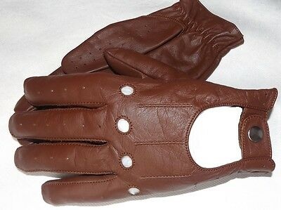 Mens Classic Vintage Genuine Leather Fashion Driving  Chauffeur Gloves S-M-L-Xl