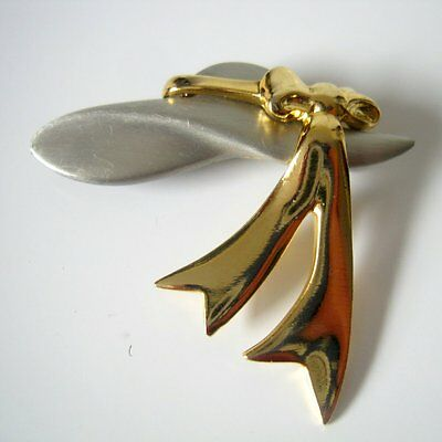 Vintage Signed JJ Jonette Silver and Gold Tone Hat  Brooch