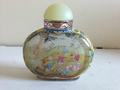 Chinese Reverse Glass Painted Snuff Bottle Signed Inscribed Republic ?