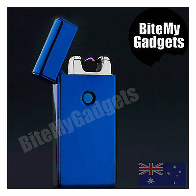 Electric Pulse Arc Windproof Flameless Lighter Plasma USB Rechargeable - Blue