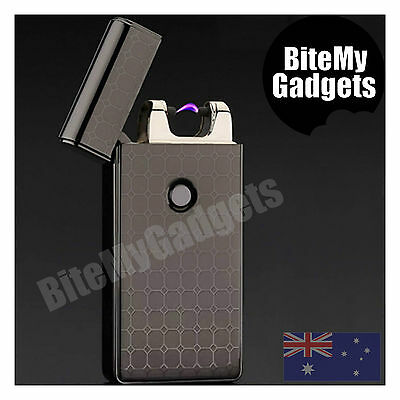 Electric Pulse Arc Windproof Flameless Lighter Plasma USB Rechargeable - Black