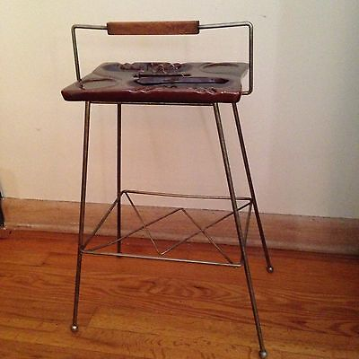 Mid Century Modern Pottery Ashtray & Stand Made In Usa