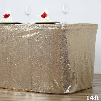 14 ft Champagne SEQUIN TABLE SKIRT Wedding Party Catering Trade Show Banquet