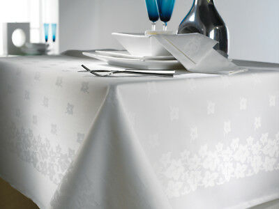 Tablecloth 100% Egyptian Cotton Ivy leaf Damask WHITE Bordered