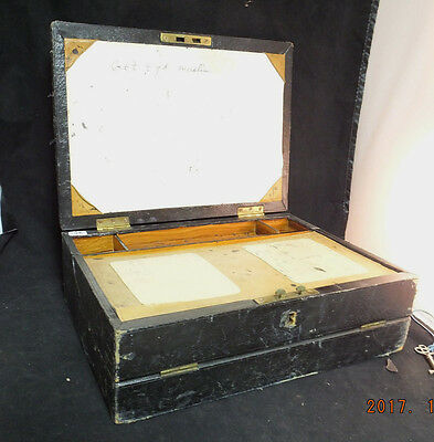 1800's, Antique Vintage Leather/ Wood Writing  Lap Desk  with Document Storage