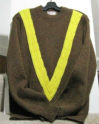 Vintage Brentwood 1950 1960s Mod Brown and Yellow Shetland Wool Mix Sweater M
