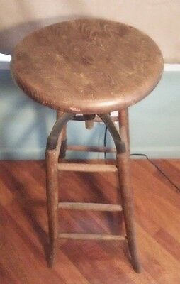 Antique Industrial Chicago Adjustable Swivel DRAFTING STOOL Bar Chair Steampunk