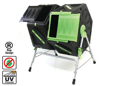 Dual Tumbling Composter 2x70L - Create Compost in just few weeks Fast and Easy