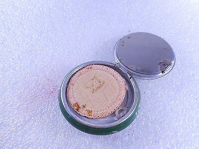 Vintage Bourjois Powder And Rouge Compact Art Deco Blue And Silver Top