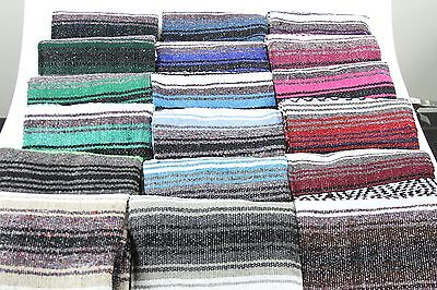 "Hand Woven Mexican Throw Blanket Assorted Color 73"" x 48"""