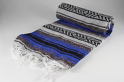 """Hand Woven Mexican Throw Blanket Blue Color 73"""" x 48"""""""