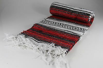"""Hand Woven Mexican Throw Blanket Red Color 73"""" x 48"""""""