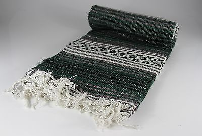 """Hand Woven Mexican Throw Blanket Forest/Dark Green Color 73"""" x 48"""""""