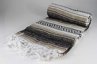 "Hand Woven Mexican Throw Blanket Tan/Brown Color 73"" x 48"""