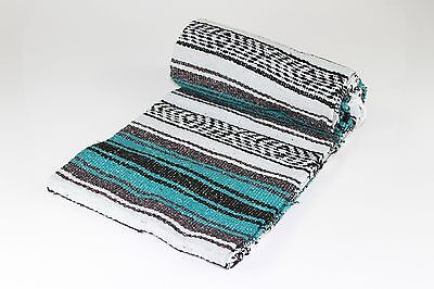 """Hand Woven Mexican Throw Blanket Teal/Green Color 73"""" x 48"""""""