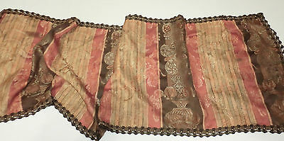 "Antique Fabric Table Runner Shabby Rust Greens Stately Woven Pattern 46"" X15"" T"