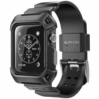 Rugged Armor Apple Watch Case + Strap Band 38mm Sport Cover Accessories Black
