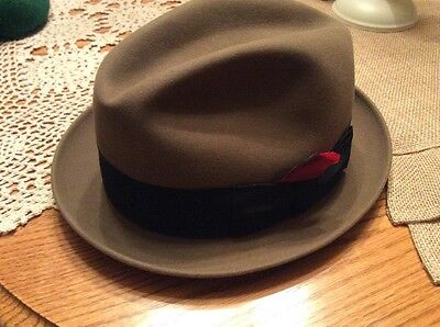 """Vintage Knox Premier Madison Ave. Fedora Hat Color Brown SZ  7 1/8"""" Made in USA"""