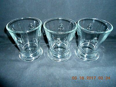 "3 Paris Musees La Rochere France ""Bees"" 8 Oz Glass Tumblers Excellent Condition"