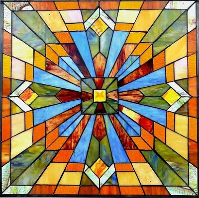"24"" by 24"" STAINED GLASS WINDOW PANEL BRILLIANT MISSION STYLE COLLECTION"