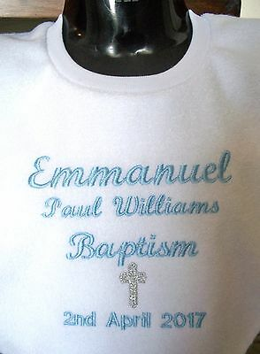 Personalised Baby Bib Christening Baptism Name Day -Any name Embroidered Gift