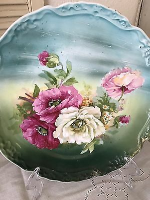 "Antique Porcelain Charger Plate HP Lush Roses 12"" Limoges Austria Germany Signed"