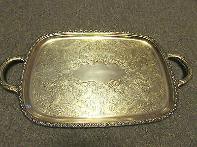 Vintage Ornate Community Silver Plate Butler Serving Platter Tray with Handles