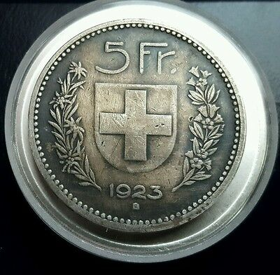 Switzerland 1923-B 5-Francs Silver Coin With Beautiful Toning