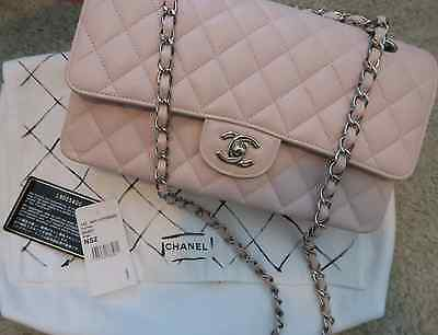 5df1701e24e537 CHANEL Classic Medium Flap Bag Blush Pink Taupe Caviar SHW Quilted  Authentic!