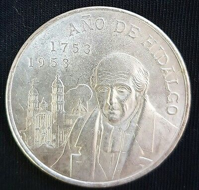 1953 Mexico 5 Pesos Silver Coin  (Bicentennial of Hidalgo's Birth)..