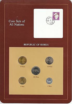 Coins of All Nations Set - South Korea - 5 Coins - 1971-83