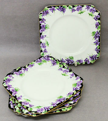 Royal Doulton Violets Plates H2747 5 Plate Butter 1930s Vintage English China