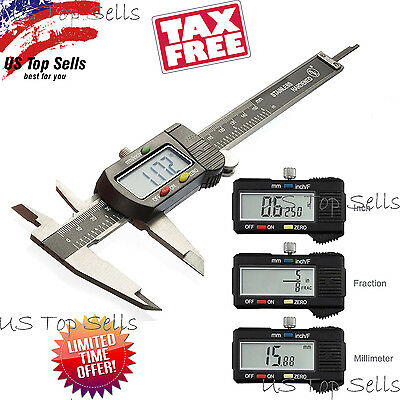 """Digital Caliper Stainless Steel Electronic LCD Micrometer Measuring 0-6""""/150mm"""