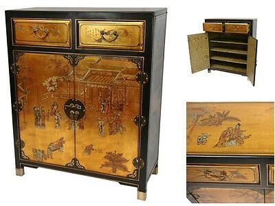 Asian Antique Chinese Cabinet Storage Handcrafted Art Gold Chest Drawer Wood New
