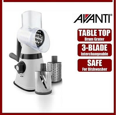Avanti Drum Grater Handheld Food Cheese Kitchen Rotary Slicer Shredder 3 Blades