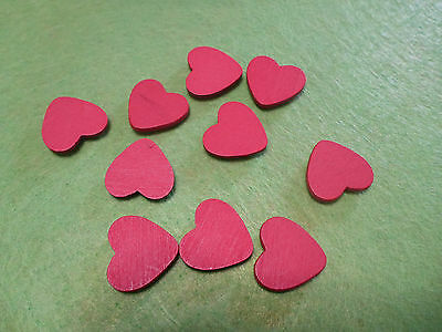 10 / 25 Red Wooden Adhesive Love Hearts Flatbacks Embellishments Scrapbooking