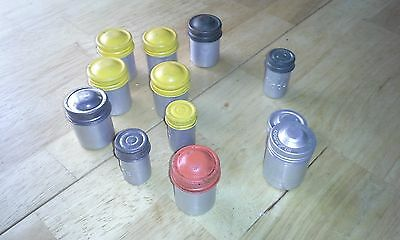 Lot vintage 35mm + smaller film cans old KODAK aluminum paraphernalia HIPPIE