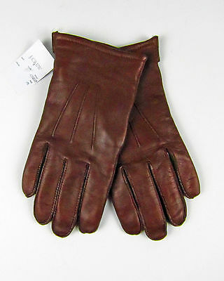 NWT J Crew Men's Cashmere-lined Leather Smartphone Gloves M Dark Brown $98 05828