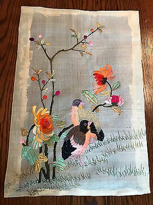 Hand Embroidered Bird Tapestry in vibrant colors