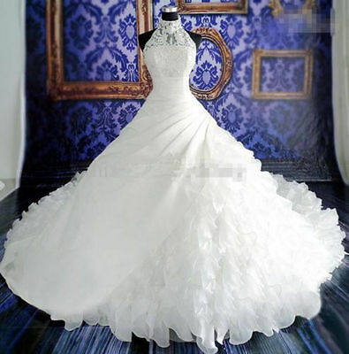 New White /Ivory Ball Gown Wedding Dress Long Train Custom Size 6 8 10 12 14 16+