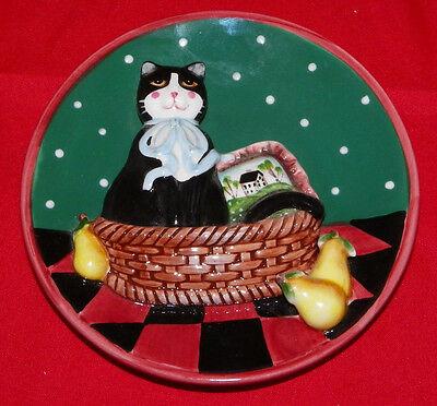 "3D Cat Collector Plate 5"" Black Cat in a Basket Cat Plate"