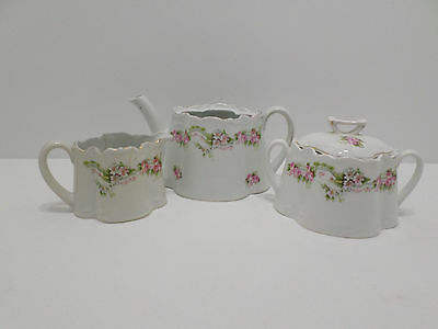 Antique Tea Set Porcelain Creamer Sugar Bowl Tea Pot Bavaria Germany