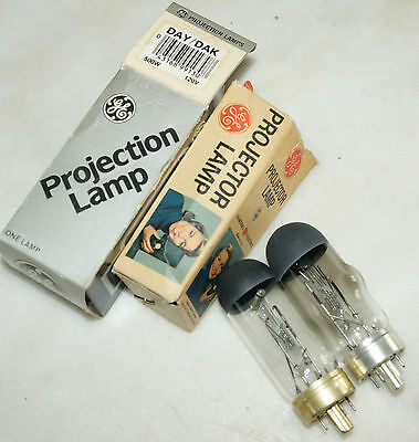 (2) GE NOS General Electric DAY/DAK Projector Lamp Bulbs 500W 120V