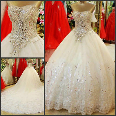 2017 White Ivory Wedding Dress Bridal Gown Size : 4 6 8 10 12 14 16 18