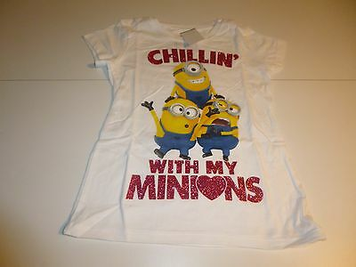 Despicable Me Minnions Girls White T-Shirt    Size  L 10/12   NWT